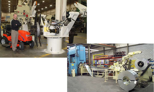 Top - Double end coil reel in production, Press feed line with 10,000 lb. coil reel - bottom